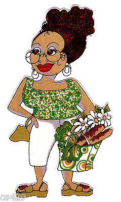 """4"""" LORALIE MAID CLEANING LADY LADIES OF THE HOUSE BREAD FABRIC APPLIQUE IRON ON"""