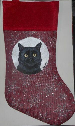 Black Bombay Cat Hand Painted Christmas Gift Stocking Decoration