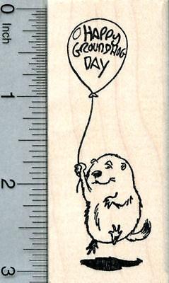 Groundhog Day Rubber Stamp, Marmot with Balloon J31625 WM](Groundhog Day Crafts)