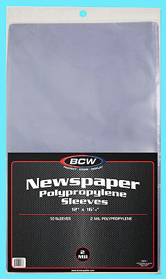 "50 BCW 12X16 NEWSPAPER 2 MIL STORAGE SLEEVES Clear Poly Art Photo Print 12""x16"""
