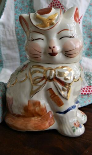 "Vintage Shawnee Cat Cookie Jar - Stamped ""Patented Puss N Boots USA"" Gold Trim"