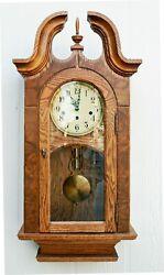 SHEFFIELD  AN ELEGANT STONEYBROOK SOLID OAK WALL CLOCK W/ WESTMINSTER CHIMES