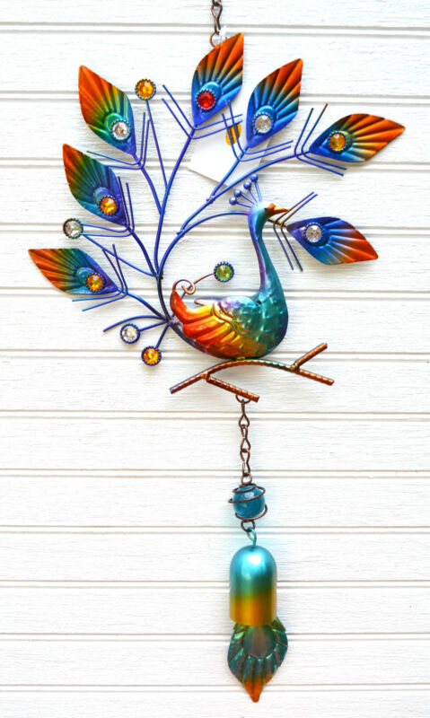Peacock Metal Hanging Decor with Bell porch or patio ornament(R)