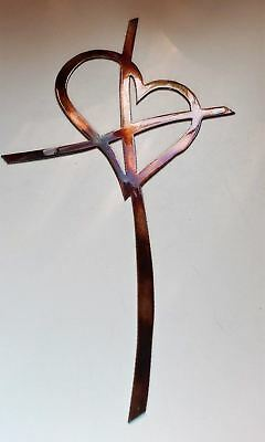 Crossed Heart Cross Metal Wall Art Decor