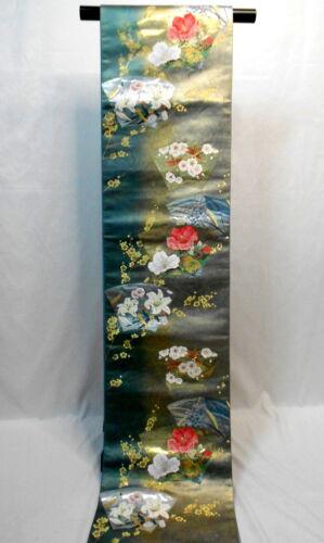 """Japanese Kimono SILK Fukuro OBI, Rokutu ,Gold foil thread, Flowers,L174""""..1780"""