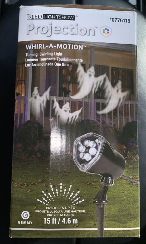 """Gemmy Halloween """"White Ghosts"""" LED Light Show """"Whirl-A-Motion"""" Projection"""