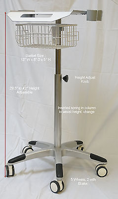 Mobile Rolling Cart For Ultrasound Imaging Scanner System. Aajustable Height