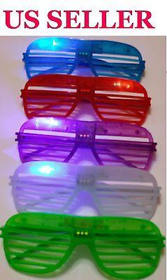 12 PCS LED Shutter Glasses Light Up Shades Flashing Rave Wedding Party Birthday
