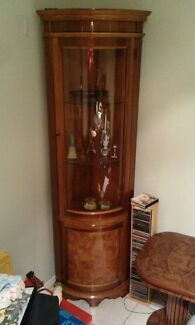 Wood Corner Wall Unit with Glass  Edensor Park Fairfield Area Preview