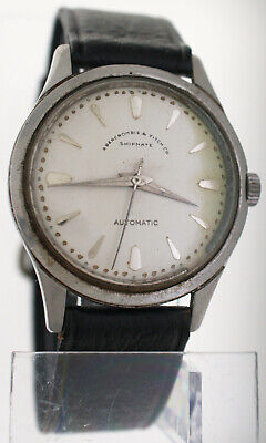Vintage 1960s Abercrombie & Fitch Shipmate Automatic Watch 35mm Military Navy