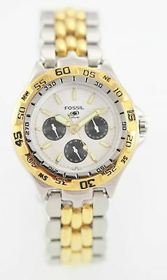 Fossil Watch Mens White Stainless Steel Silver Gold Day Date 24hr 50M Quartz