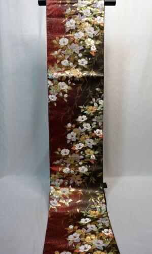 "Japanese Kimono SILK Fukuro OBI, Rokutu ,Gold/Silver, Camellia,leaf,L171""..2034"