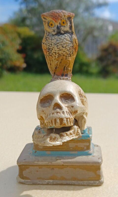 Antique 1930's German Skull & Owl Nodder Victorian Steampunk Style