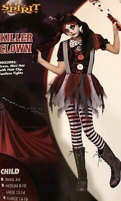 Kids Killer Clown Costume Dress Hair Accesory Child L 12-14 Spirit