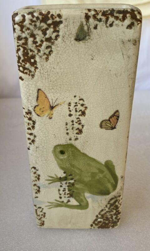 "Vintage Ceramic Wall Pocket Planter Vase 7 3/4"" Frog And Butterflies"