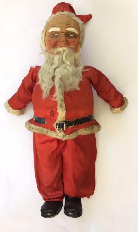 """Antique Vintage 26"""" German Canvas Santa Large Standing Primative Belsnickle"""