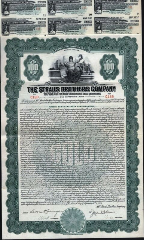 $100 STRAUS BROTHERS CO GOLD BOND, 1929 WITH 15 COUPONS, LIQUIDATED BOND