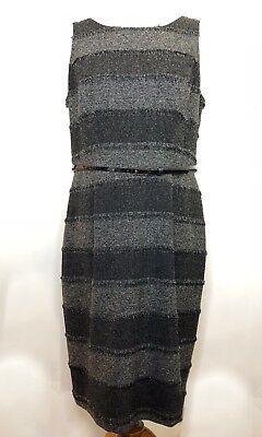 Sleeveless Woven Dress In Black - Evan-Picone Belted Sleeveless Black & White Woven Dress in Sz: 14