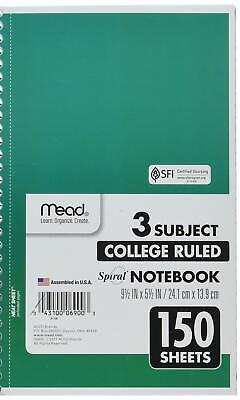 Mead Spiral Notebook 3 Subject College Ruled Paper 150 Sheets 9-12 X 5-12