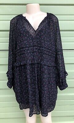 NWT ZARA Black Floral Print dot Long Sleeve Flowing Mini Dress size XS  #534A