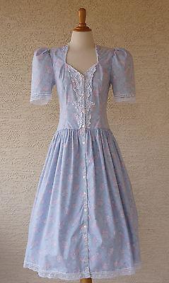 Vintage 1980s Blue Floral Gunne Sax Dress by Jessica McClintock Size