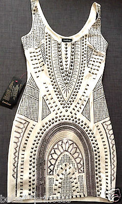 $200 NWT bebe ivory white studded floral embellished bodycon top dress S small