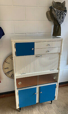 Refurbished Vintage Kitchen Cupboard Larder Unit Retro 1960s Styling Blue White