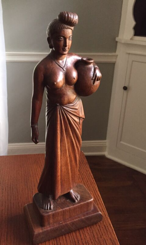 """East Indian Fruitwood Carving of """"Water Girl"""" Figure. Nice patina."""