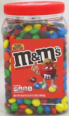 M&Ms Peanut Butter Candy 55 oz Jar M&M's M & M Chocolate Candies Tub Bulk - Chocolate Jars