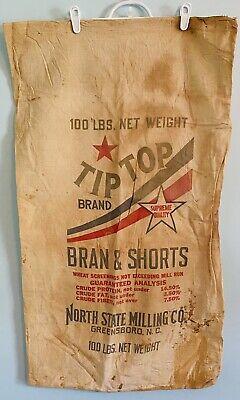 "1930s Handbags and Purses Fashion 1930's Cloth ""Tip Top Bran & Shorts"" 100 LB. Feed Bag North State Milling Co, NC $24.95 AT vintagedancer.com"