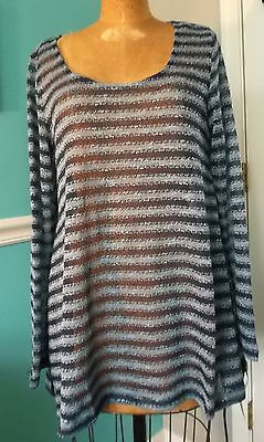 MOTHERHOOD OH BABY MATERNITY BLUE STRIPED LIGHTWEIGHT SWEATER - SIZE LARGE - NWT