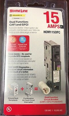 Square D Homeline Hom115dfc Dual Function Afcigfci Breaker 15a New In Package