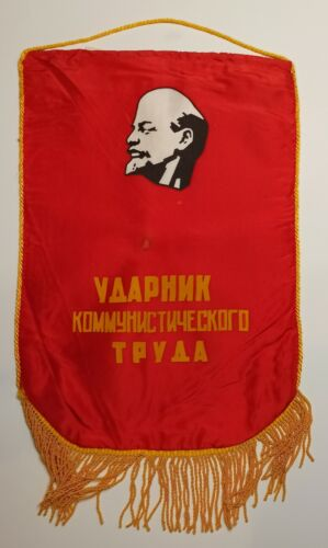 Pennant of the Soviet Union RED FLAG drummer of communist labor RARE