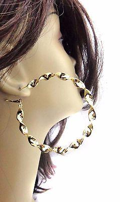 TWISTED HOOP EARRINGS GOLD TONE TWIST 2.75 INCH HOOP EARRINGS Gold Tone Twisted Earrings