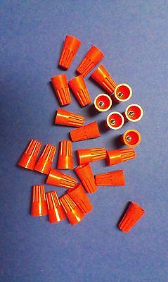 Lot Of 25 Orange Wire Connectors Twist On Conical Nut Nuts
