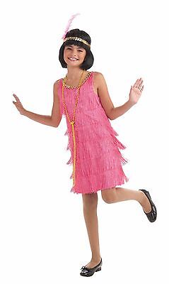 Girls PINK Flapper Dress Fringe Costume Headband Party Dancer Fancy Kids Childs](Pink Flapper Girl Costume)