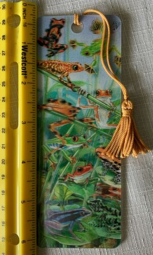 3D Bookmark Tree Frogs Lenticular with Tassel Book Mark