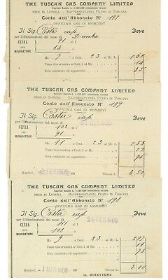 TUSCAN GAS COMPANY LIMITED PRATO ITALIA OFFICINA GAS MONDOVI' ILLUMINAZIONE 1906