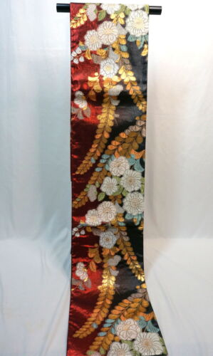 "Japanese Kimono SILK Fukuro OBI, Rokutu ,Gold thread/leaf,Plants,Red,L177"" .1989"