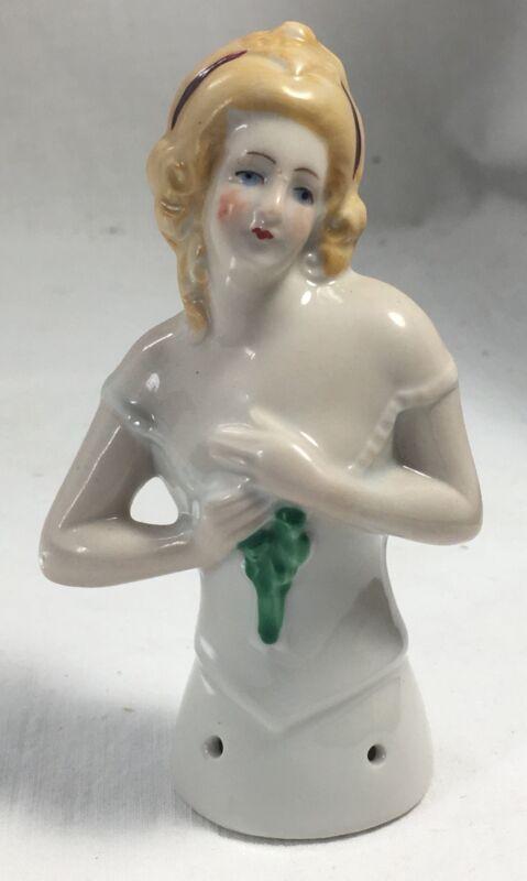 Vintage Half Doll Pin Cushion Germany Porcelain 8032 Blonde