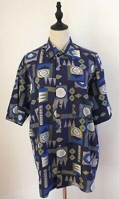 1970s Mens Shirt Styles – Vintage 70s Shirts for Guys VINTAGE 70'S ~ Mens Navy Green White 50's Geometric Print Short Sleeve Shirt XL $27.11 AT vintagedancer.com