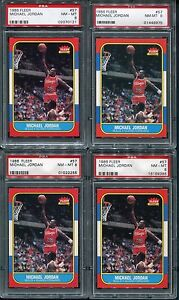 (7) 1986-87 FLEER BASKETBALL #57 MICHAEL JORDAN RC PSA 8 NM-MT *LOT OF 7*