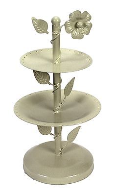 White Metal Round Earring Jewelry Display Stand Holder Holds 35 Pairs