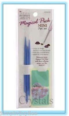 Beadsmith Magical Pick Mini 3 piece Set Flatback Chaton Rhinestone Pick up Tool