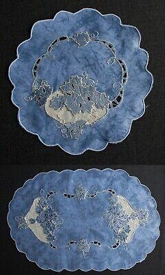 e, Tischläufer, Mitteldecke Deckchen  Blatt Königsblau (Königsblau Tischdecken)