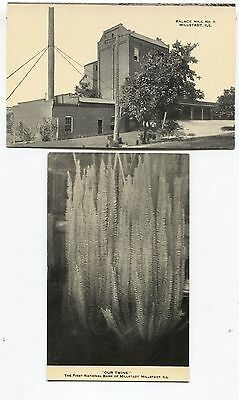 For sale 2 1910 era Millstadt Illinois Postcards Palace Mill & 1st National Bank cards