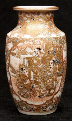 Antique Japanese Meiji Period Satsuma Vase Scholar Asian Earthenware Pottery Old