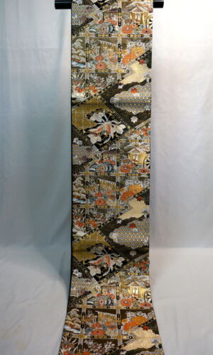 "Japanese Kimono SILK Fukuro OBI, Rokutu ,Gold/Silver thread, Flowers, L174"".1946"