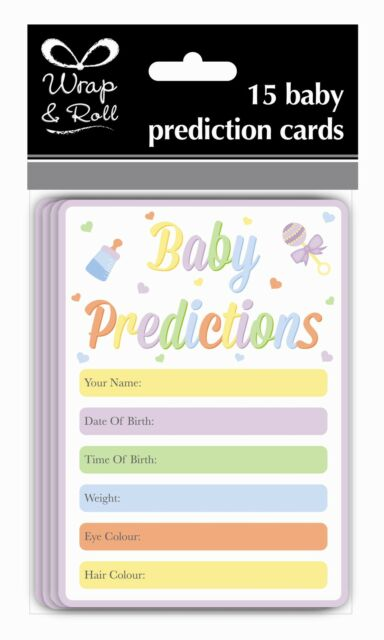 Pack Of 15 Baby Shower Prediction Cards - Guess Name, Weight, Date etc