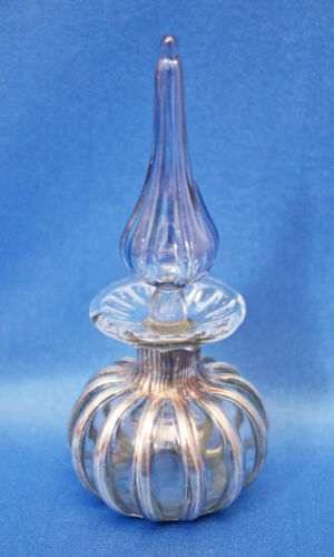 Vtg signed Village Glass Hand Blown RIBBED SILVER OVERLAY Perfume + Blue Stopper